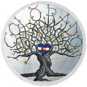 Round Beach Towel featuring the drawing Colorado Flag Love Tree by Aaron Bombalicki