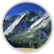 All Fivecolorado Flatirons Round Beach Towel by Marilyn Hunt