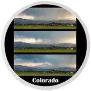 Round Beach Towel featuring the photograph Colorado Front Range Longs Peak Lightning And Rain Poster by James BO Insogna