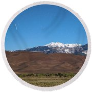 Colorado Great Sand Dunes With Falling Star Round Beach Towel by James BO Insogna