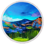 Colorado Hills Round Beach Towel by Elise Palmigiani