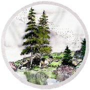 Colorado Lake Reflections Round Beach Towel