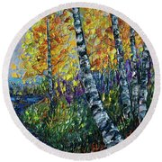 Glimpses Of Colorado Fall Colors Round Beach Towel