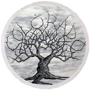 Round Beach Towel featuring the drawing Colorado Love Tree Blk/wht by Aaron Bombalicki