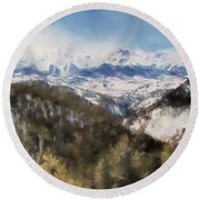 Colorado Mountains 4 Landscape Art By Jai Johnson Round Beach Towel