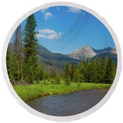 Colorado River And Kawuneeche Valley Round Beach Towel