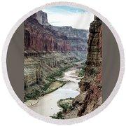 Colorado River And The East Rim Grand Canyon National Park Round Beach Towel