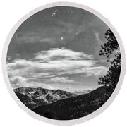 Round Beach Towel featuring the photograph Colorado Rocky Mountain Evening View In Black And White by James BO Insogna
