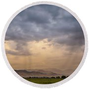 Round Beach Towel featuring the photograph Colorado Rocky Mountain Foothills Storms by James BO Insogna