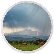 Round Beach Towel featuring the photograph Colorado Rocky Mountain Red Barn Country Storm by James BO Insogna