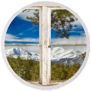 Colorado Rocky Mountain Rustic Window View Round Beach Towel