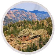 Colorado Rocky Mountains Round Beach Towel by Sheila Brown