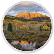 Colorado Sunrise Round Beach Towel by Phyllis Peterson