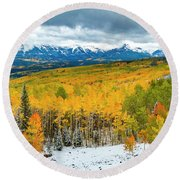 Colorado Valley Of Autumn Color Round Beach Towel by Teri Virbickis