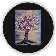 Round Beach Towel featuring the drawing Colorado Yoga Love Tree by Aaron Bombalicki