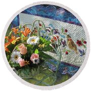 Round Beach Towel featuring the mixed media Colordance With Quail Quilt by Nancy Lee Moran