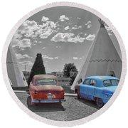 Colored Cars And Tee Pee Motel--holbrook Round Beach Towel