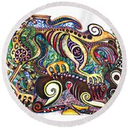 Colored Cultural Zoo D Version 2 Round Beach Towel
