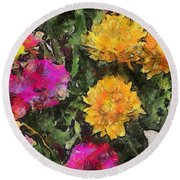Colored Flowers Round Beach Towel