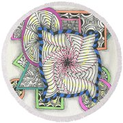 Colored Frames Round Beach Towel