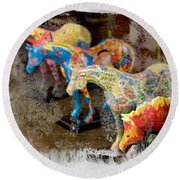 Round Beach Towel featuring the photograph Colored Horses. by Andrey  Godyaykin