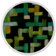 Colored Lines On Black Round Beach Towel by Patricia Cleasby