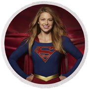 Colored Pencil Study Of Supergirl - Melissa Benoist Round Beach Towel