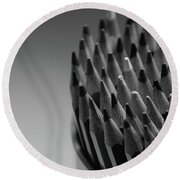 Colored Pencils - Black And White Round Beach Towel