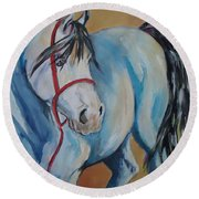 Colored Pony Round Beach Towel