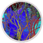 Round Beach Towel featuring the photograph Colored Tree Branches by Susan Stone