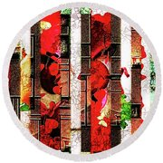 Round Beach Towel featuring the digital art Colored Windows by Paula Ayers
