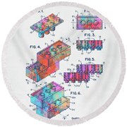 Colorful 1961 Toy Building Brick Patent Art Round Beach Towel