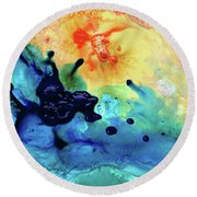 Round Beach Towel featuring the painting Colorful Abstract Art - Blue Waters - Sharon Cummings by Sharon Cummings