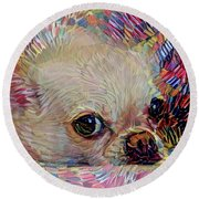 Colorful Abstract Chihuahua Round Beach Towel
