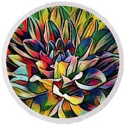 Colorful Abstract Dahlia Round Beach Towel
