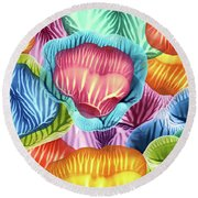Colorful Abstract Flower Petals Round Beach Towel