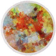 Round Beach Towel featuring the painting Colorful Abstract Landscape Painting by Ayse Deniz