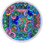 Colorful Abstract Ornaments Design  Round Beach Towel
