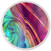 Colorful Abstract Painting Round Beach Towel by Gabriella Weninger - David