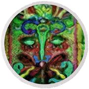 Colorful Abstract Painting Swirls And Dabs And Dots With Hidden Meaning And Secret Stories Of Birds  Round Beach Towel