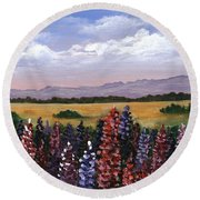 Round Beach Towel featuring the painting Colorful Afternoon by Anastasiya Malakhova