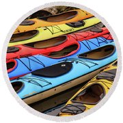 Colorful Alaska Kayaks Round Beach Towel
