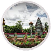 Colorful Architecture Siem Reap Cambodia  Round Beach Towel
