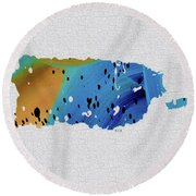 Colorful Art Puerto Rico Map Blue And Brown Round Beach Towel