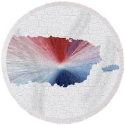 Colorful Art Puerto Rico Map Blue Red And White Round Beach Towel