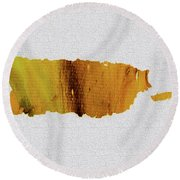 Round Beach Towel featuring the painting Colorful Art Puerto Rico Map Yellow Brown by Saribelle Rodriguez