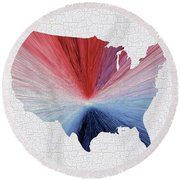 Colorful Art Usa Map Blue, Red And White Round Beach Towel