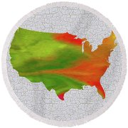 Colorful Art Usa Map Round Beach Towel