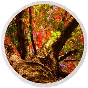Colorful Autumn Abstract Round Beach Towel