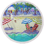 Colorful Beach Hideaway Round Beach Towel